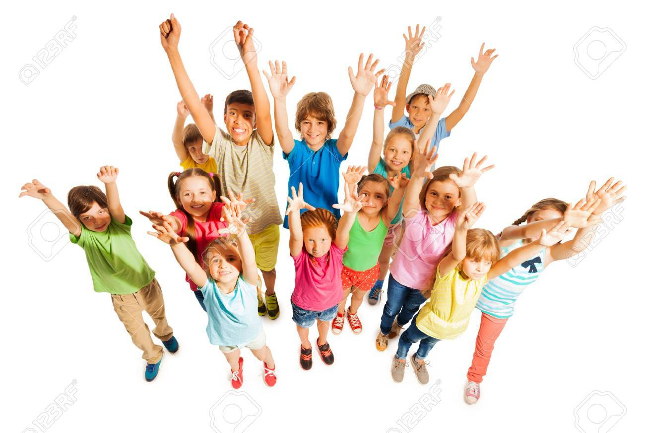 Large group of diverse school age kids boys and girls stand together isolated on white - 44068531