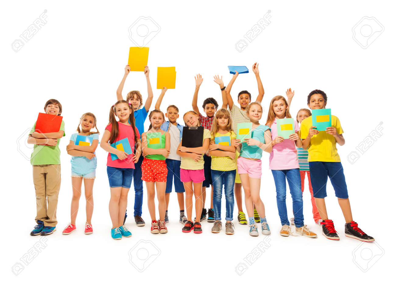 Large group of school kid standing with notebooks in fool body length smiling wearing colorful t-shirts - 44285327