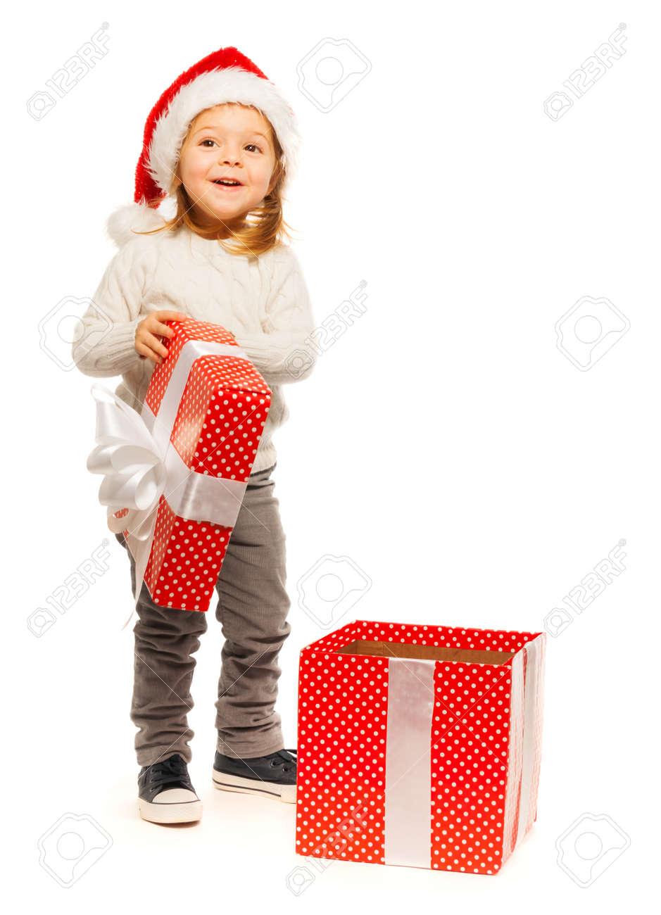 Berraschte Schöne 3 Jahre Alt Blonde Mädchen, Das Ihr Geschenk Zu ...