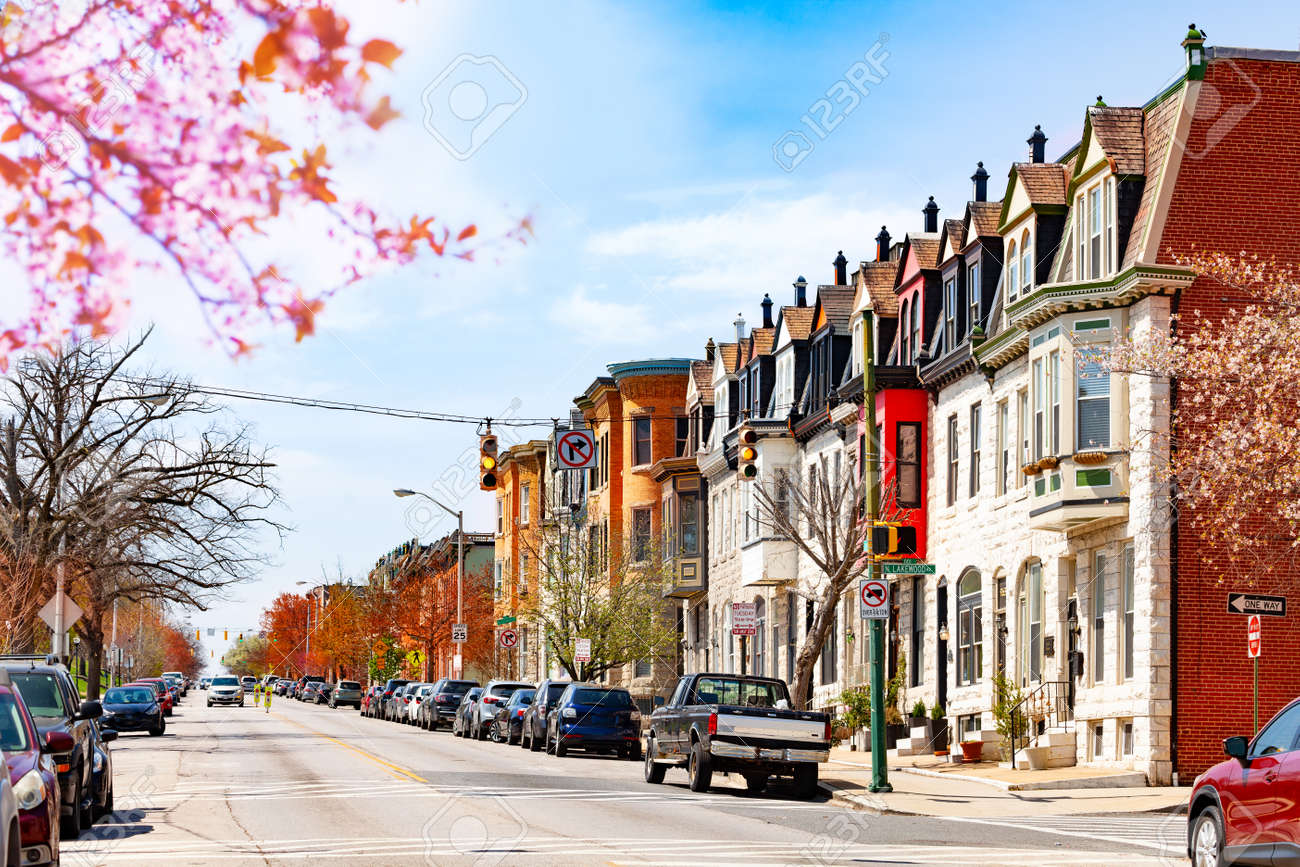 Baltimore Streets In Spring Maryland Usa