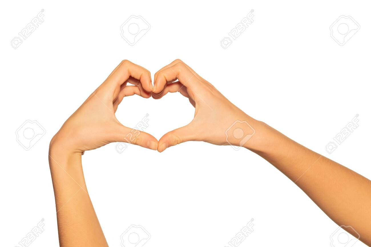 Heart Shaped Hands As Gesture Of Love And Romance Stock Photo ...