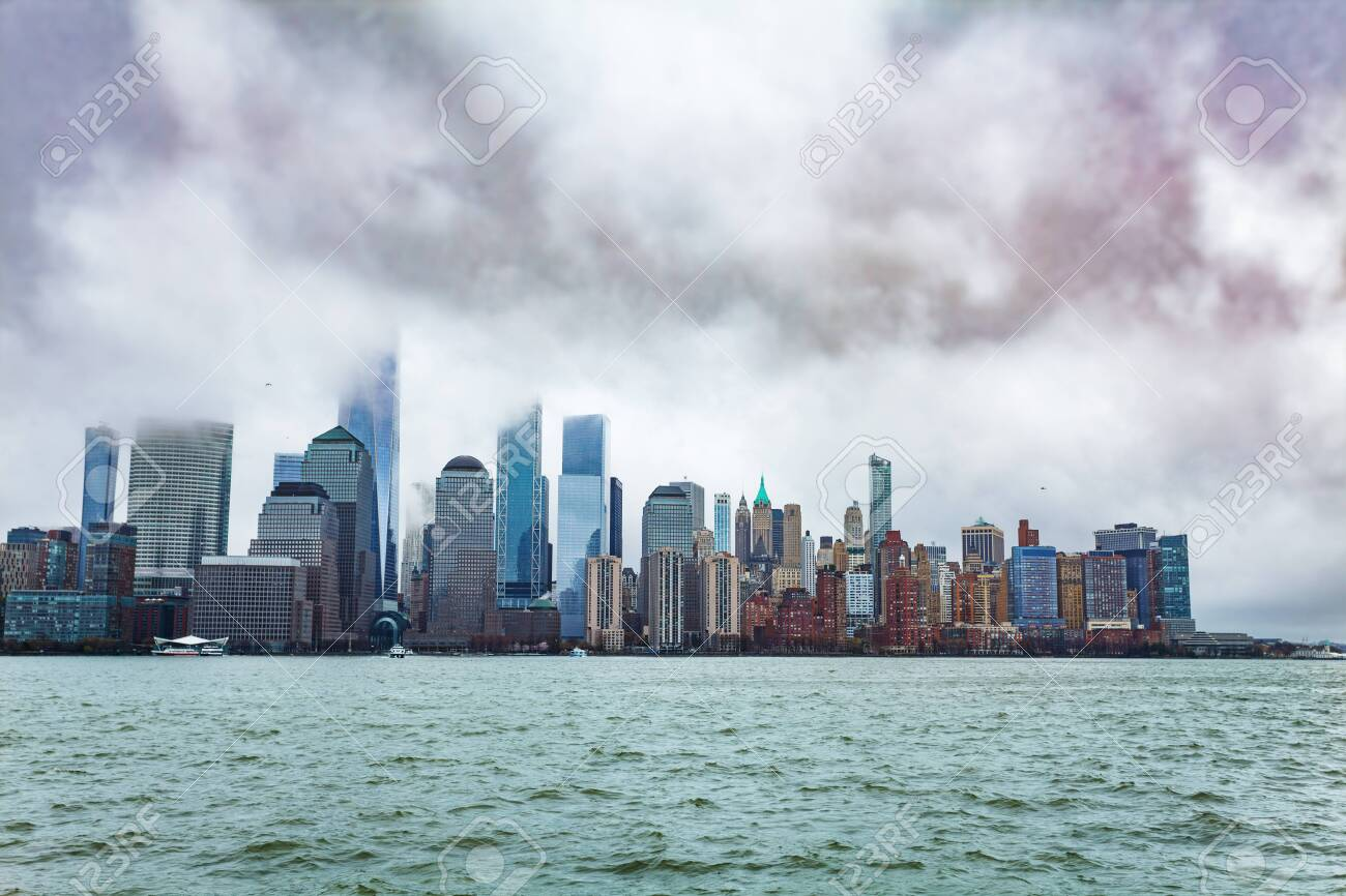 Hudson Bay New York.New York Downtown With Low Clouds Over Hudson Bay