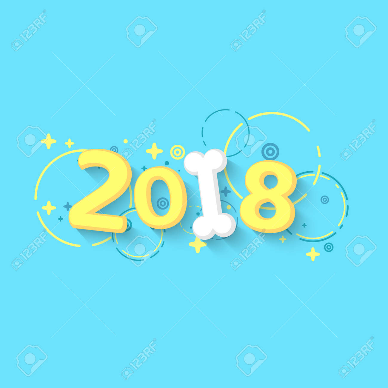 happy new year 2018 the year of the yellow earth dog cartoon figures and