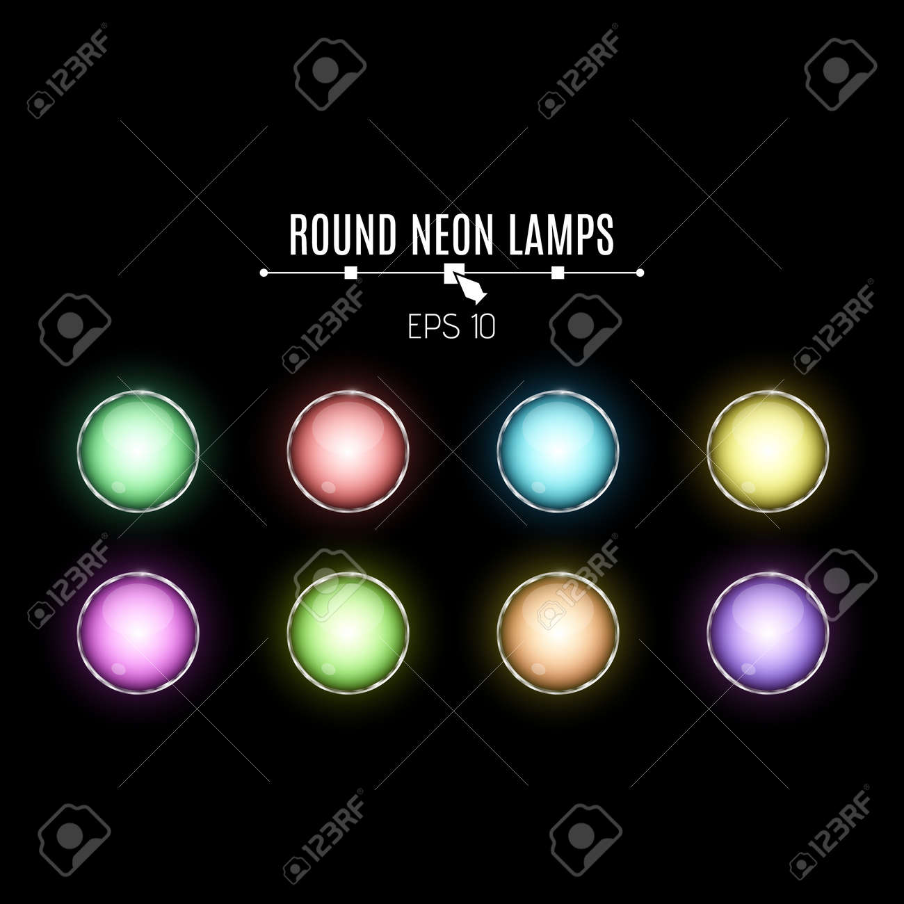 A Set Of Realistic, Round, Neon Lamps. Multicolored Lamps Glow In The Dark