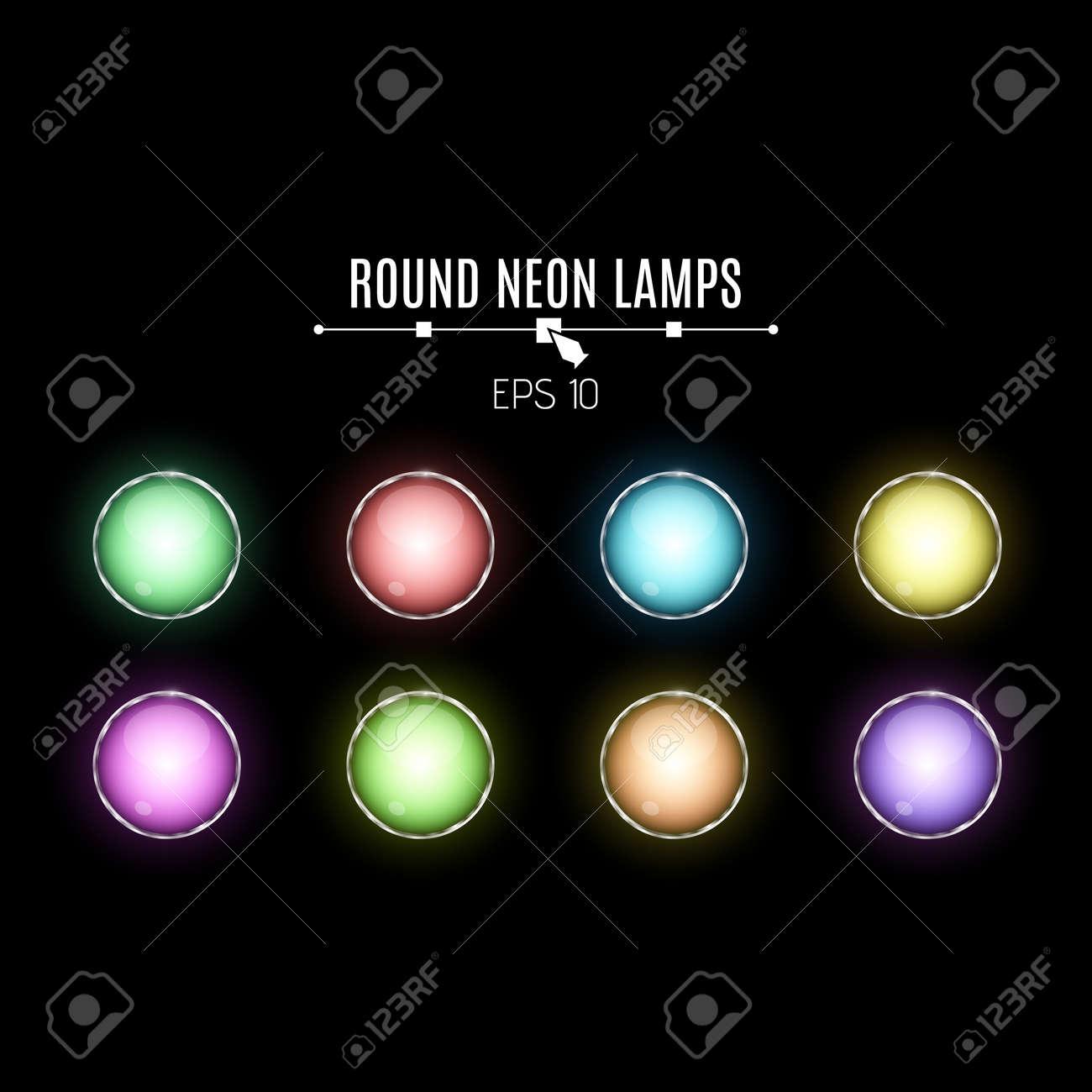 Vettoriale Una Serie Di Lampade Al Neon Realistiche E Rotonde