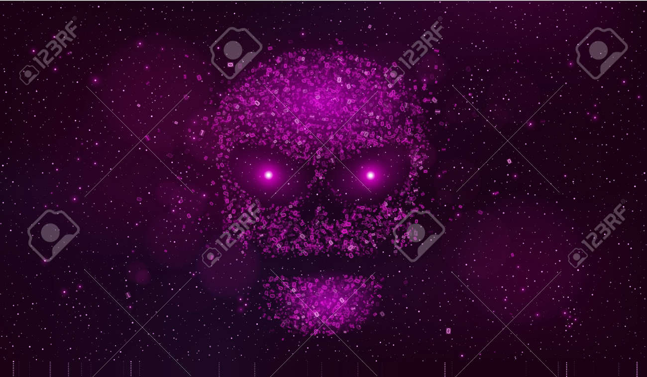 A large purple skull made of binary code symbols in outer space a large purple skull made of binary code symbols in outer space hackers broke the biocorpaavc Choice Image