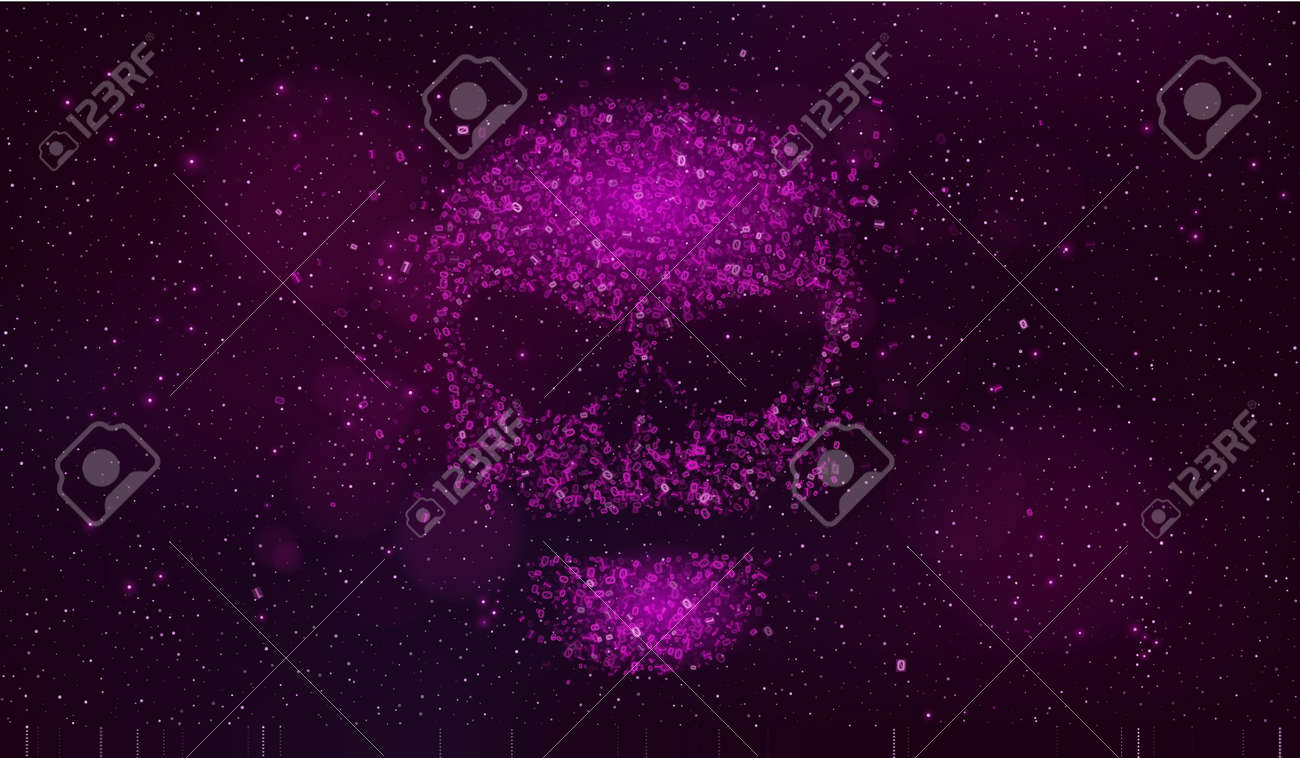 A Large Purple Skull Made Of Binary Code Symbols In Outer Space