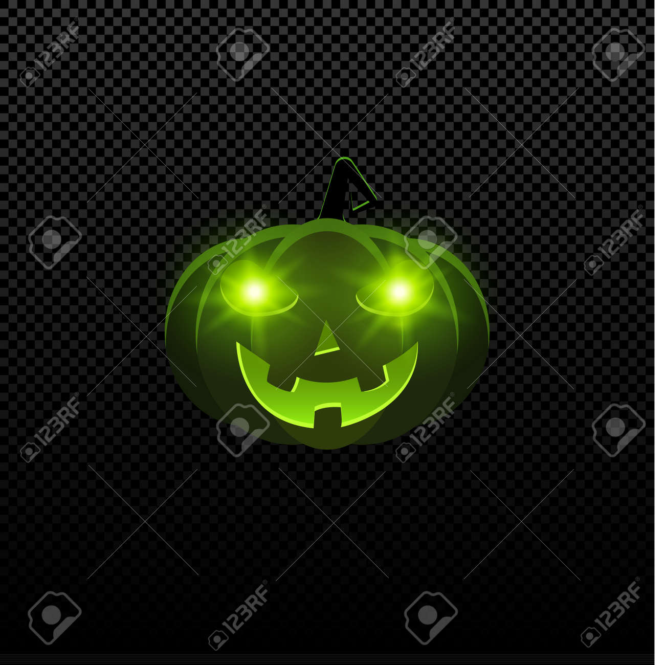 Cartoon Evil Halloween Pumpkin Of Green Color With Glowing Eyes ...