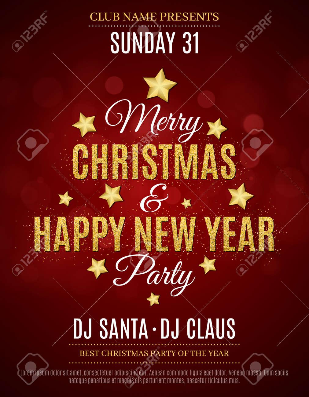 Cartel Para La Navidad Y Año Nuevo Invitación Tarjeta De Invitación Roja El Texto Tiene El Brillo De La Nieve Del Brillo Del Día De Oro Los