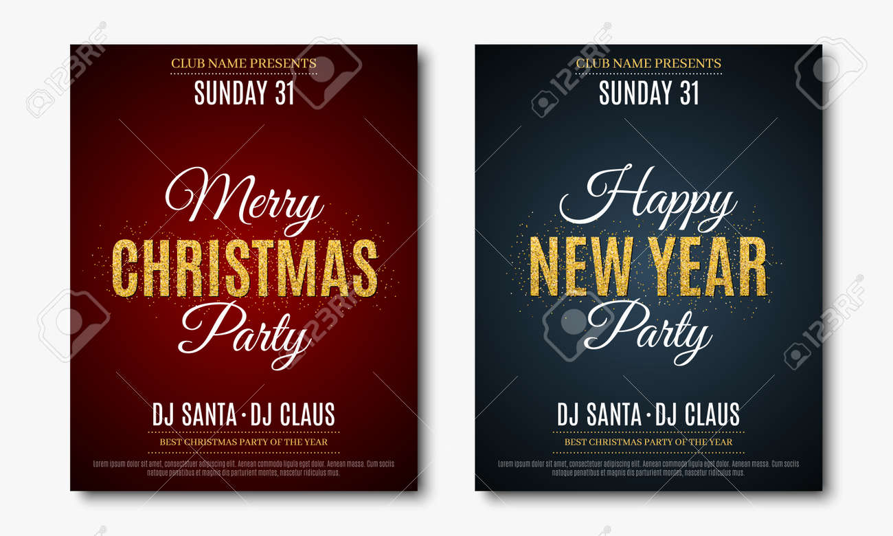 poster for christmas and new year party invitation card stock vector 91054673