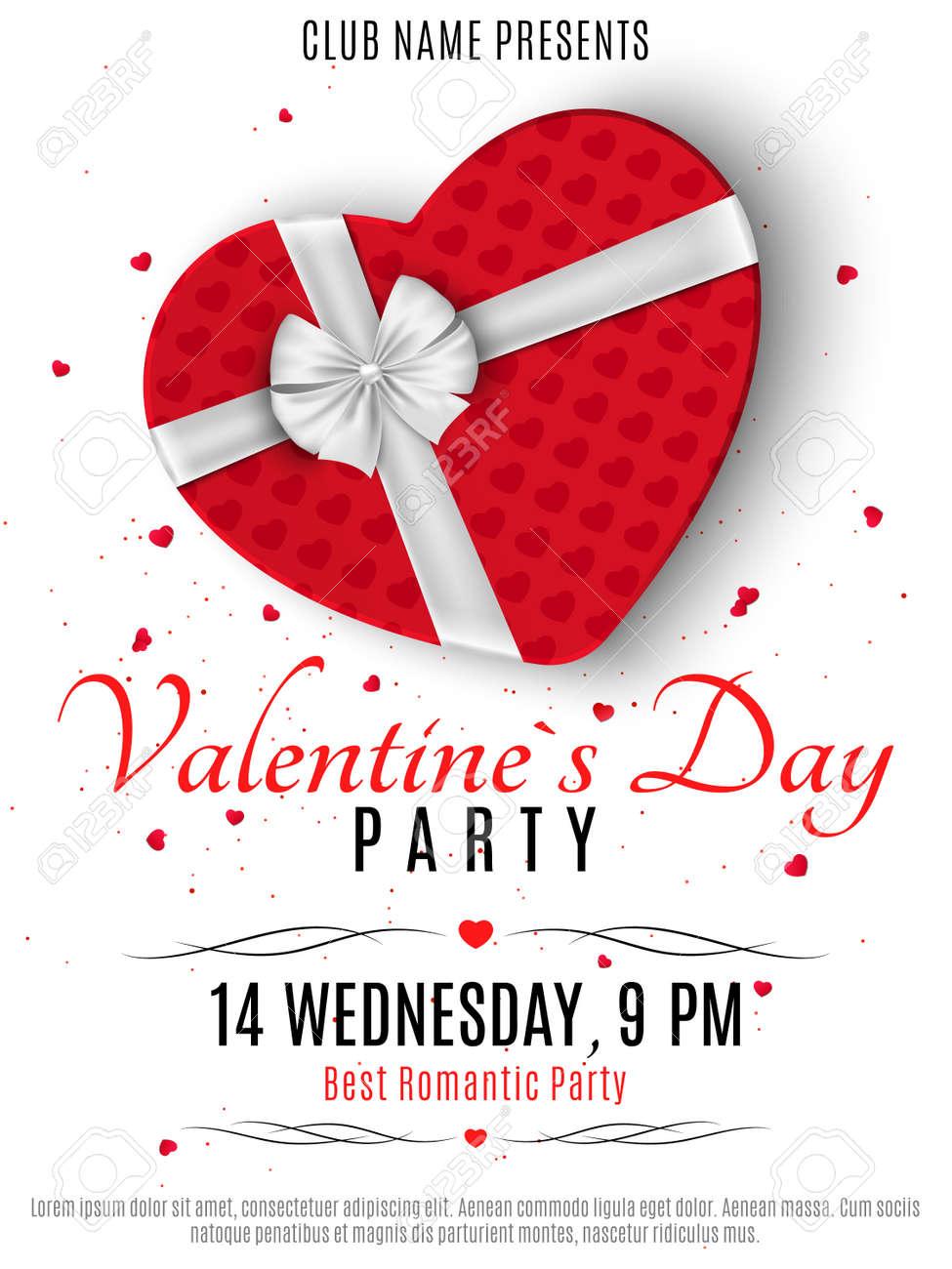 Valentinstag Party Poster Red Box Aus Dem Herzen Und Ein Weißes Band Mit Einer Verbeugung