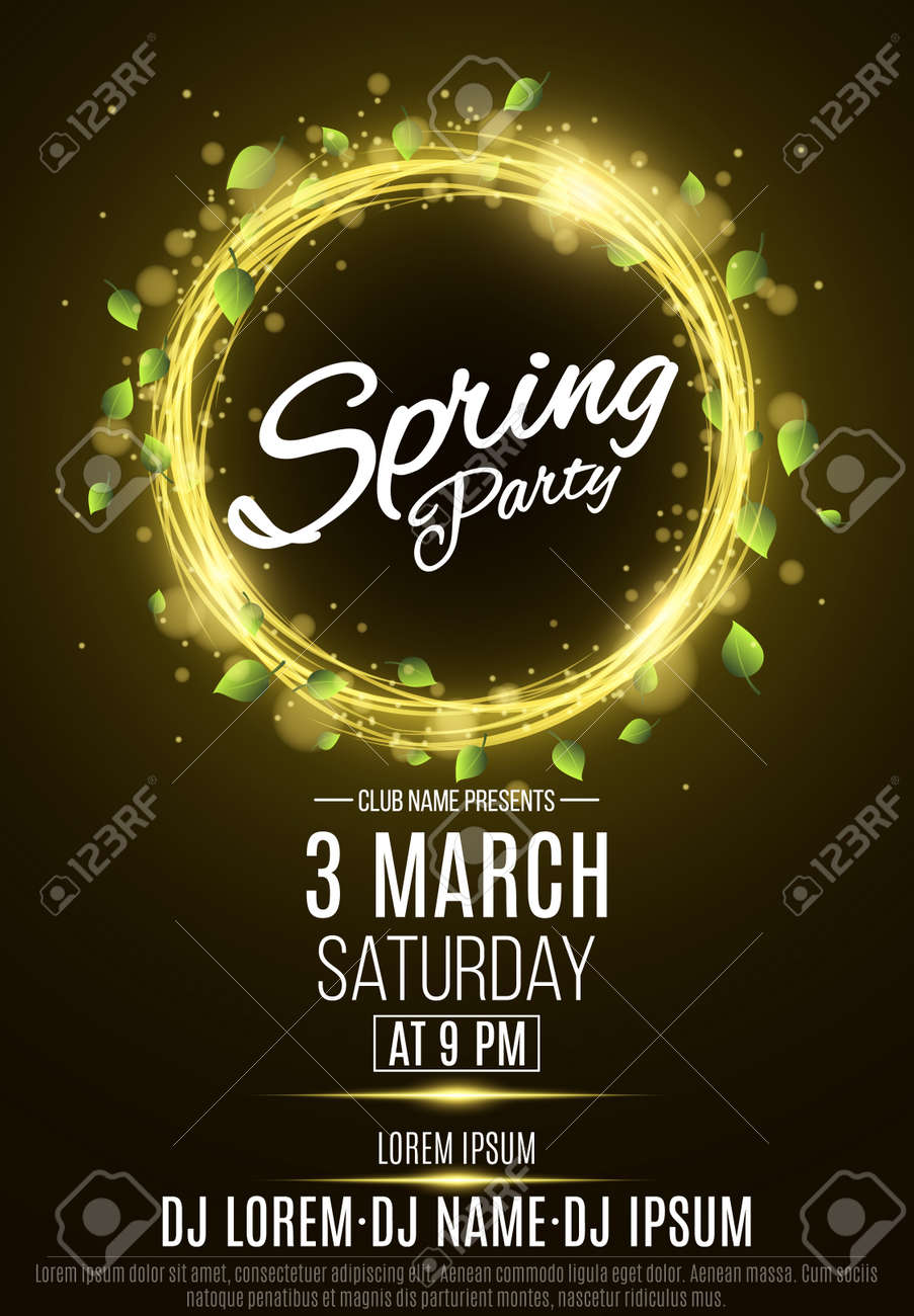 Poster for a spring party abstract banner of swirling neon lines abstract banner of swirling neon lines green fresh leaves invitation card in night club the names of the club and dj glowing particles vector stopboris Choice Image