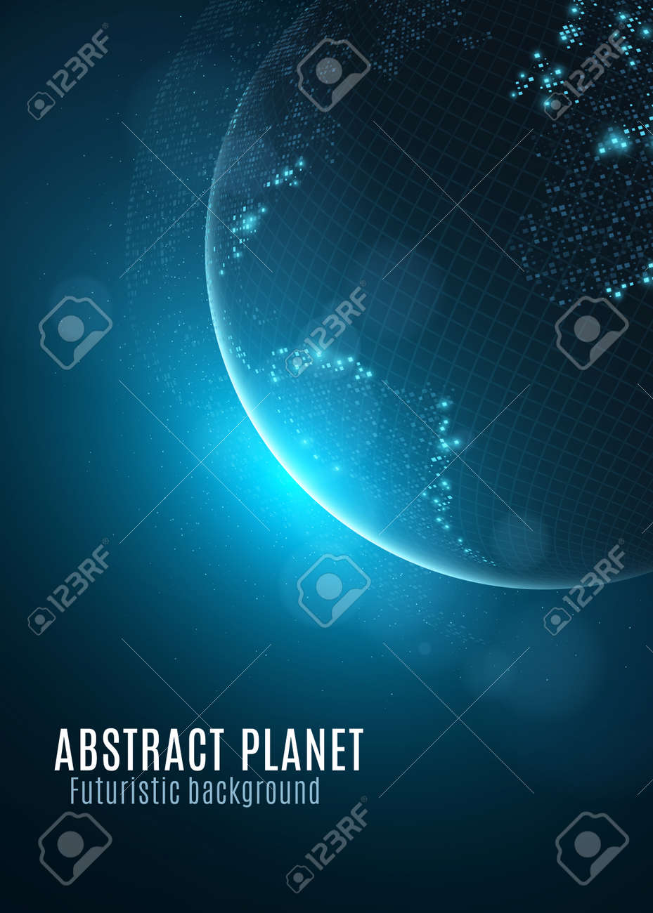 Square Earth Map.Abstract Planet Earth With Glowing Map Of Small Square Dots And