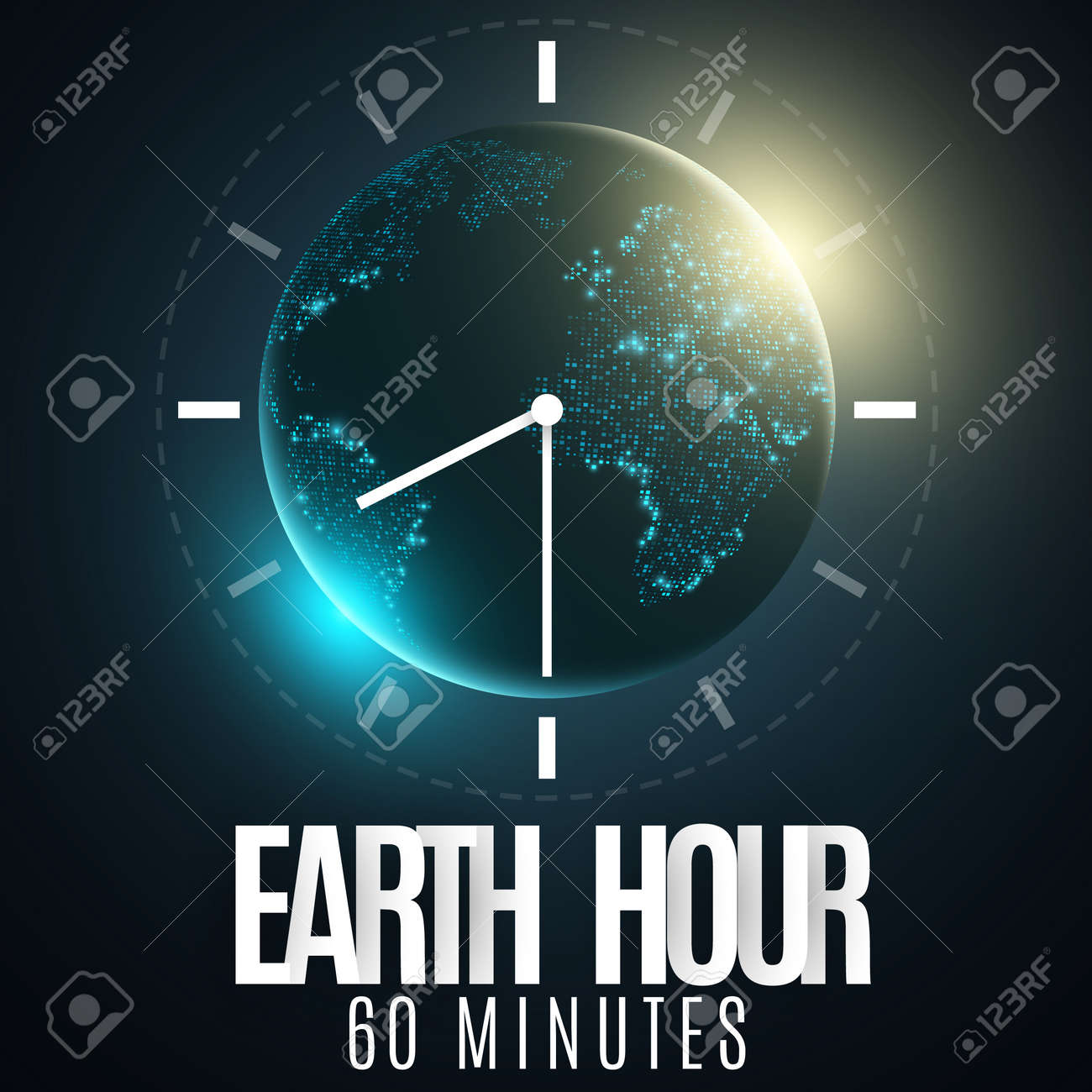 Earth Hour  Futuristic planet Earth  60 minutes without electricity