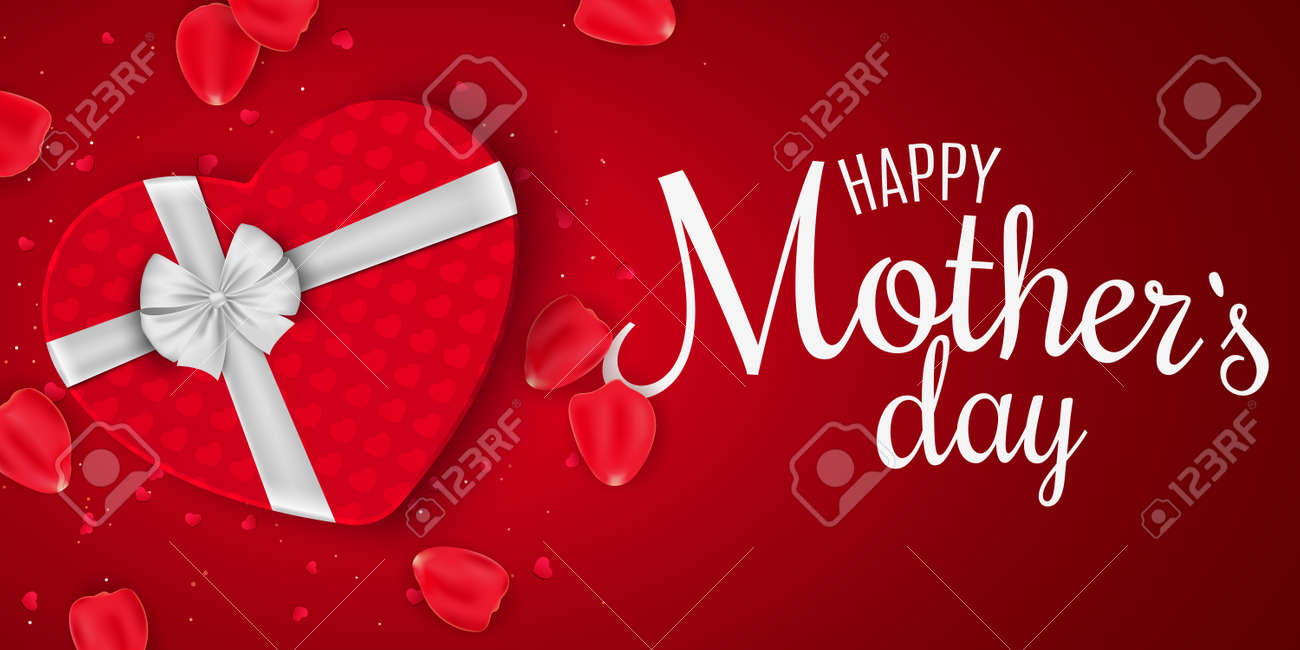 Greeting Card For Mothers Day Red Gift Box Of Heart With Bow