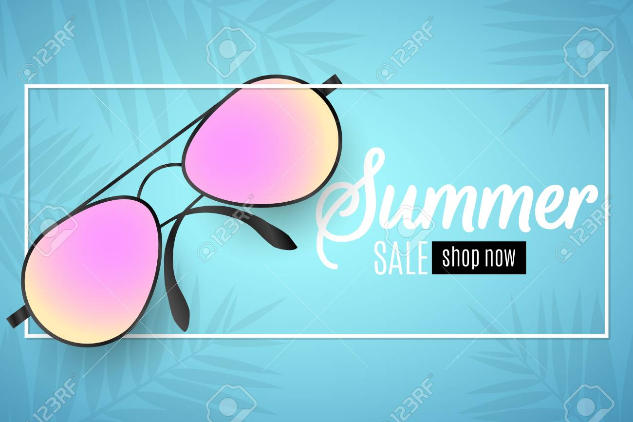 741d60e31b Advertising web banner for summer sale. Beach sunglasses in a white frame  on a blue