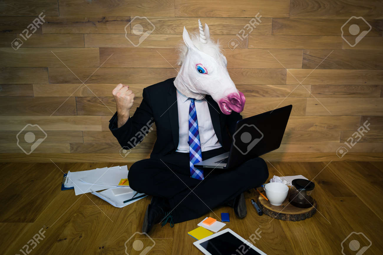 Young Man In Funny Horse Mask Angry And Dissatisfied Unicorn Stock Photo Picture And Royalty Free Image Image 94706575