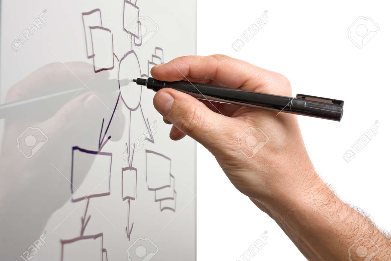 hand draws a block diagram on a transparent glass Stock Photo - 7364497