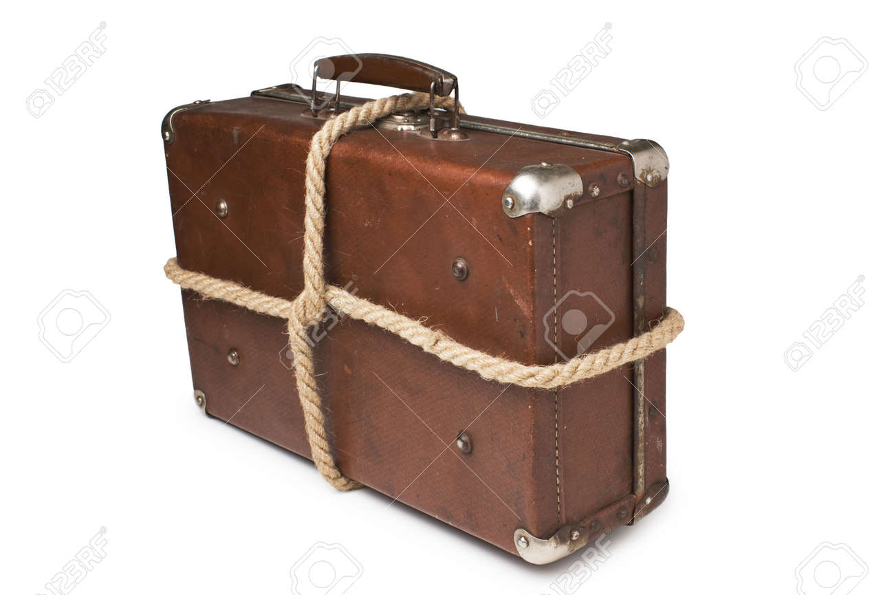 Old Suitcases Old Suitcases Tied With Rope Isolated On White Background Stock