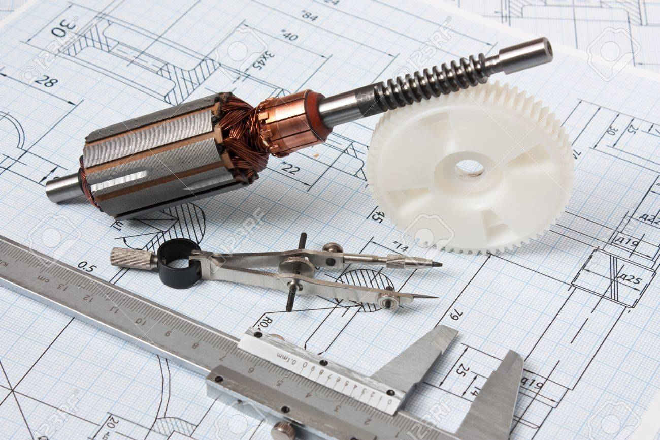Rotor Electromotor And Technical Drawing Stock Photo, Picture And ...