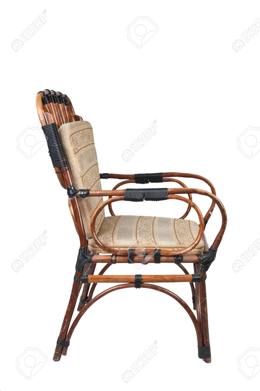 Old wicker chair isolated on white background Stock Photo - 11714979