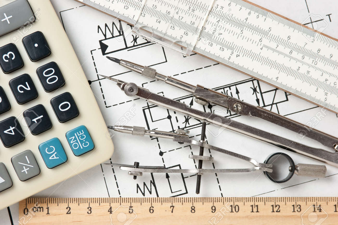 Engineering Tools On A Technical Drawing Stock Photo, Picture And ...