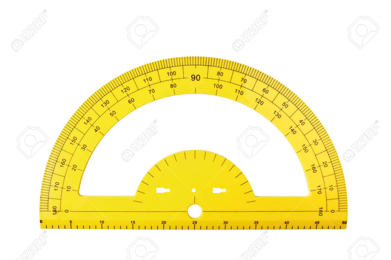 yellow school protractor isolated on a white background stock photo