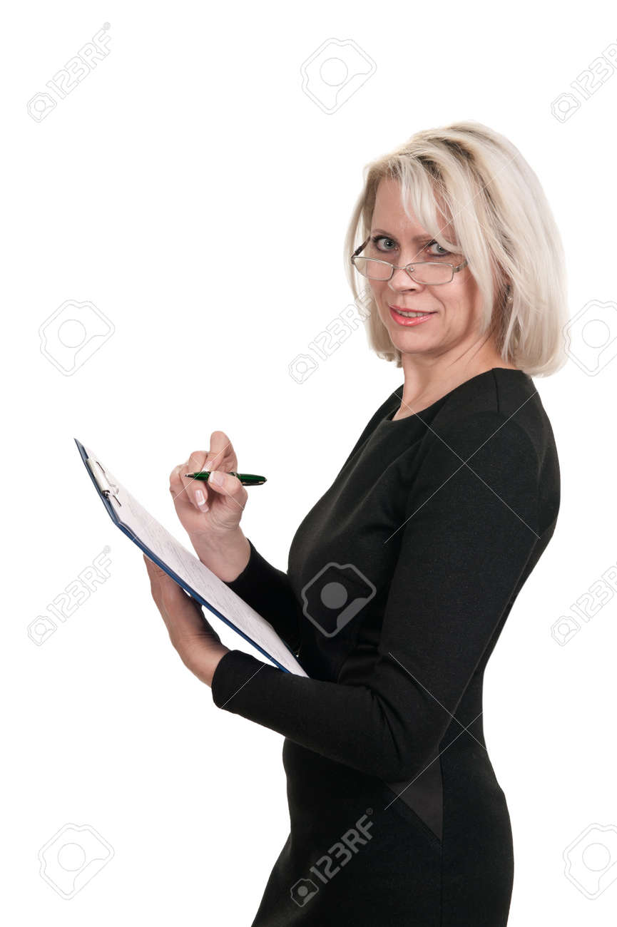 Portrait of a mature business woman with documents in hand isolated on white background Stock Photo - 15750628