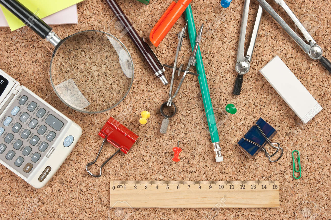 stationery in a mess on the table Stock Photo - 16062583