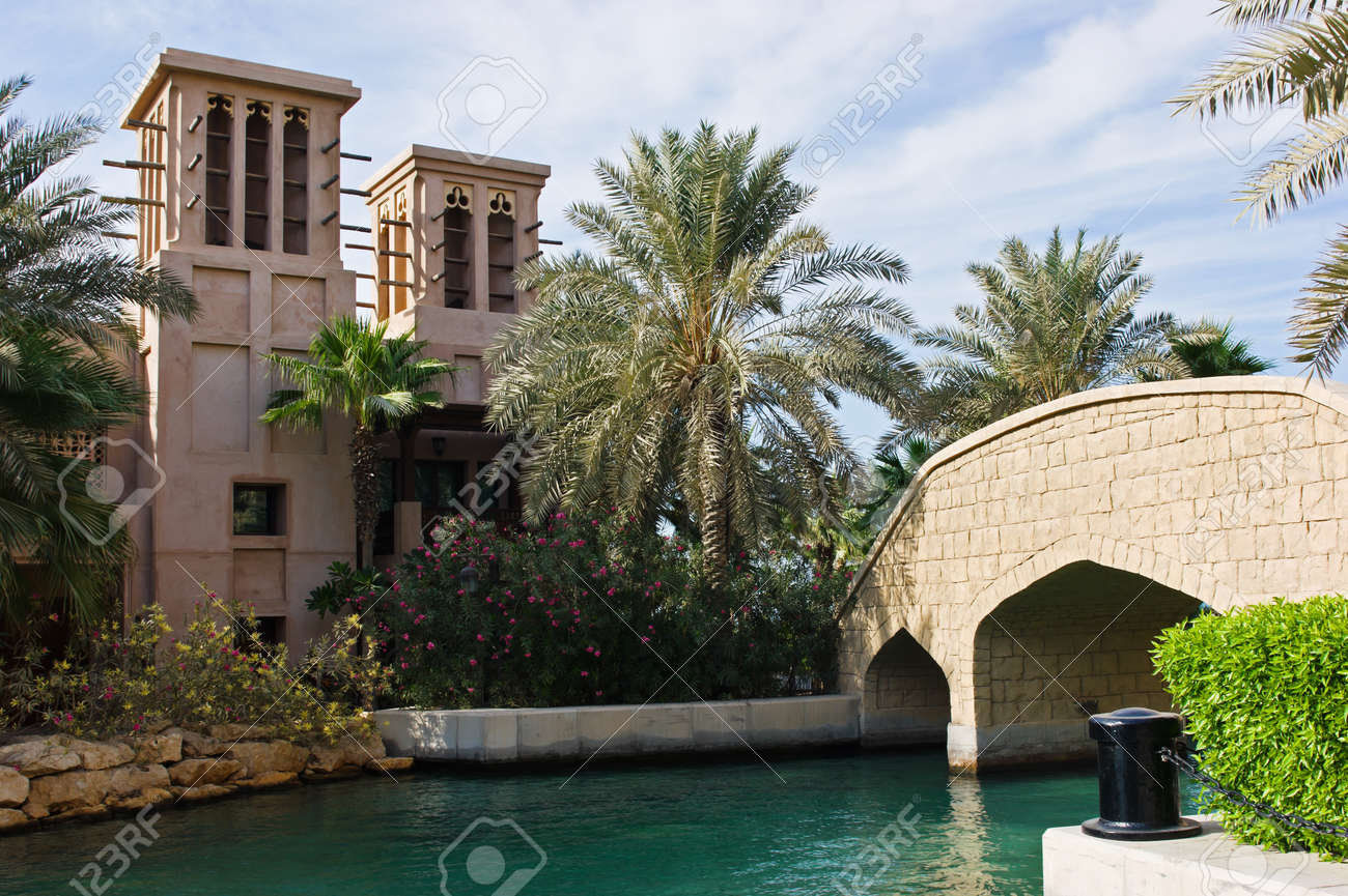 DUBAI, UAE - NOVEMBER 15  Views of Madinat Jumeirah hotel, on November 15, 2012, Dubai, UAE  Madinat Jumeirah - luxury 5 star hotel with own artificial canals and boats  Stock Photo - 17146984