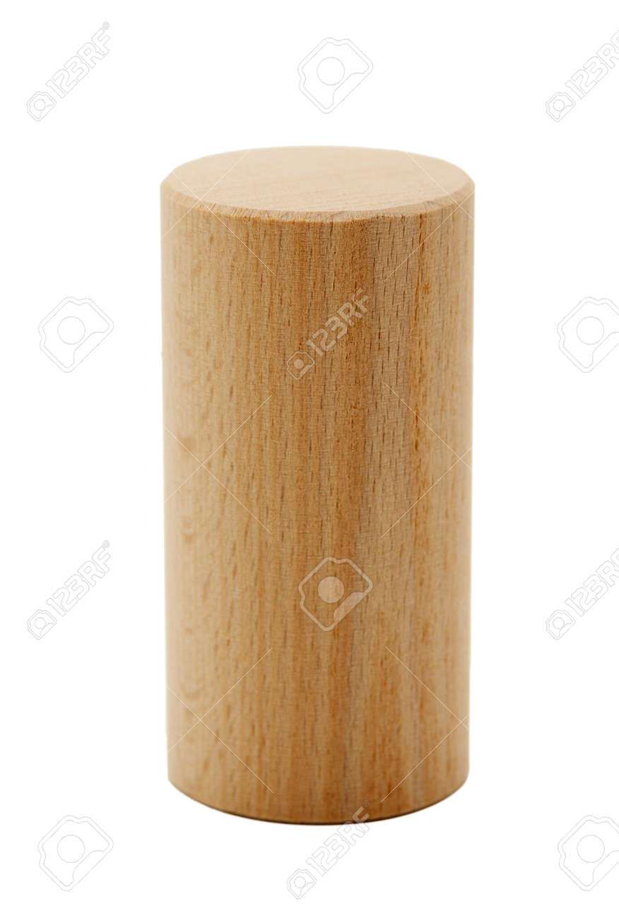 wooden geometric shapes cylinder prism isolated on a white background - 17270652