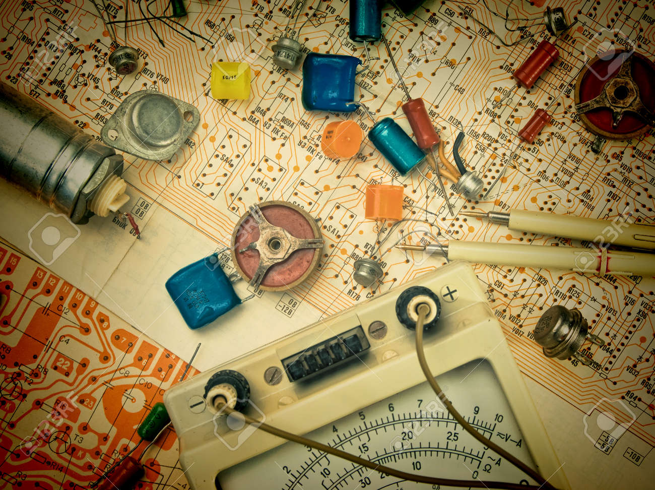 old electronic components lie on the wiring diagram stock photo old electronic components lie on the wiring diagram stock photo 18148061