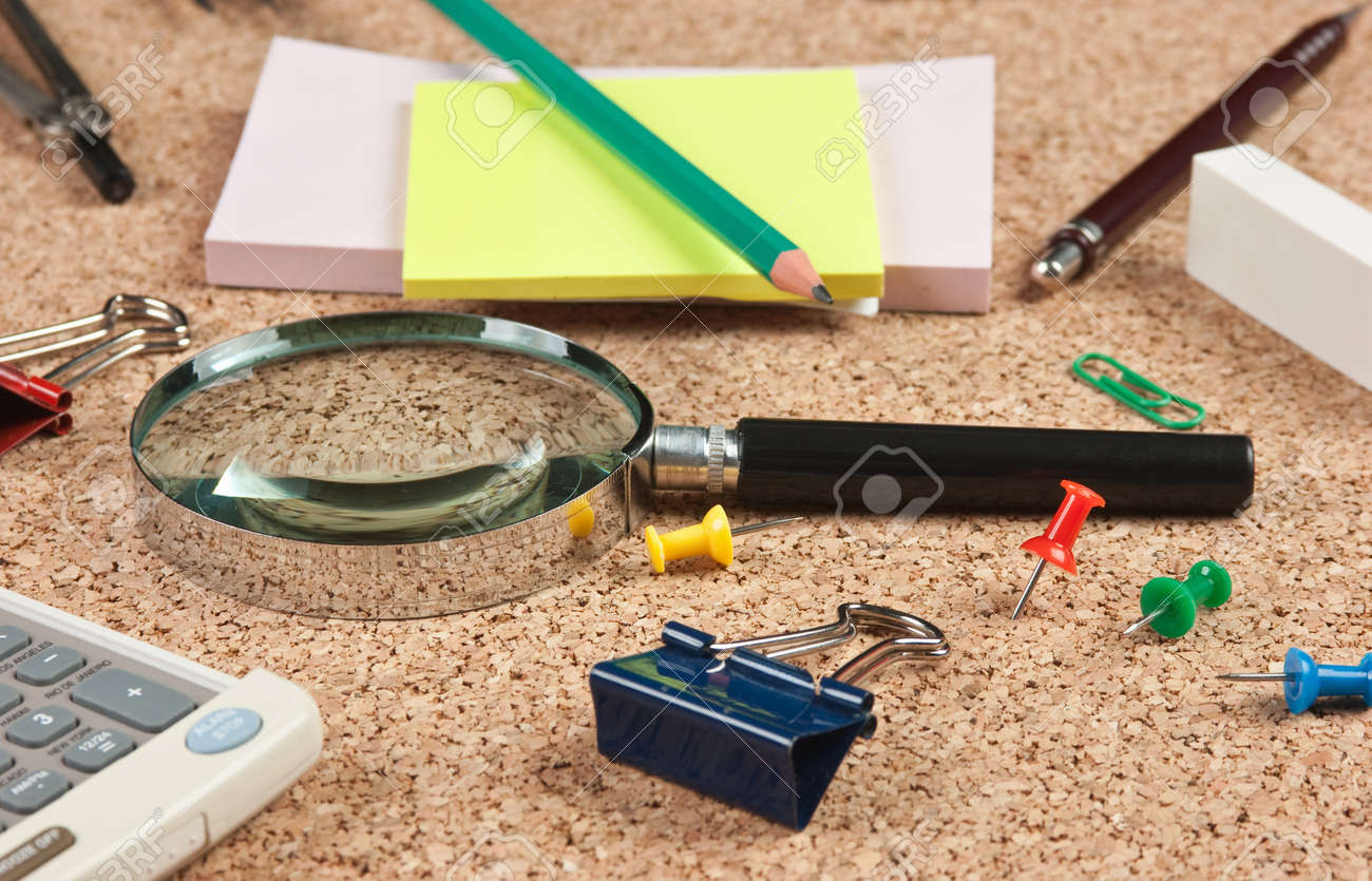 stationery in a mess on the table Stock Photo - 18939854