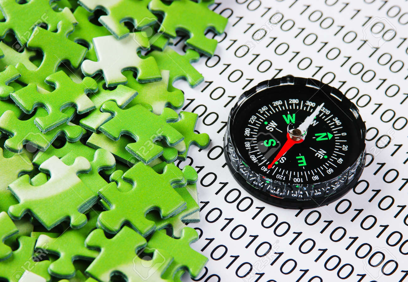 puzzles and compass on a binary code - 19691506