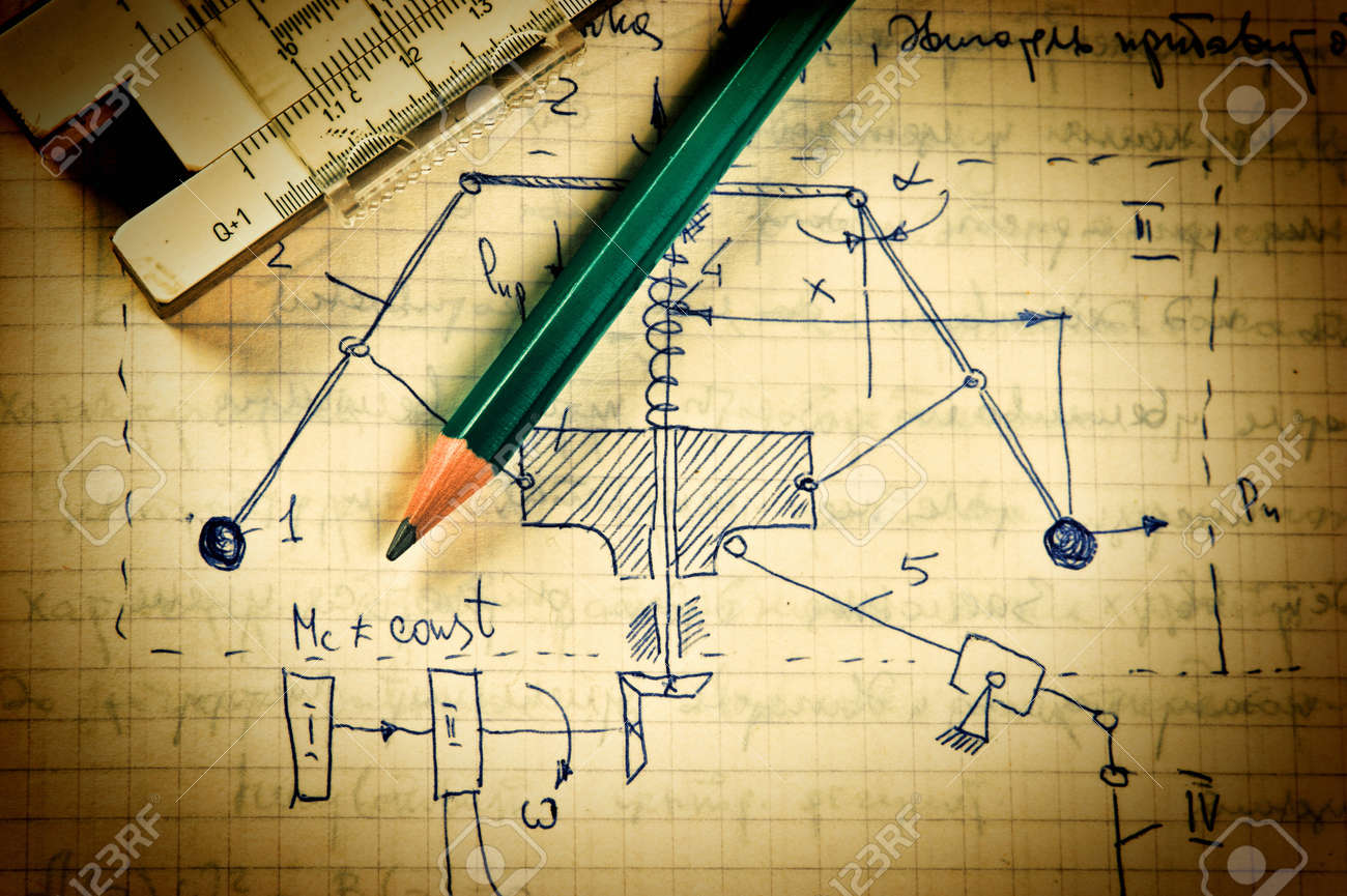 pencil and a slide rule on the old page with the calculations in mechanics - 20310611