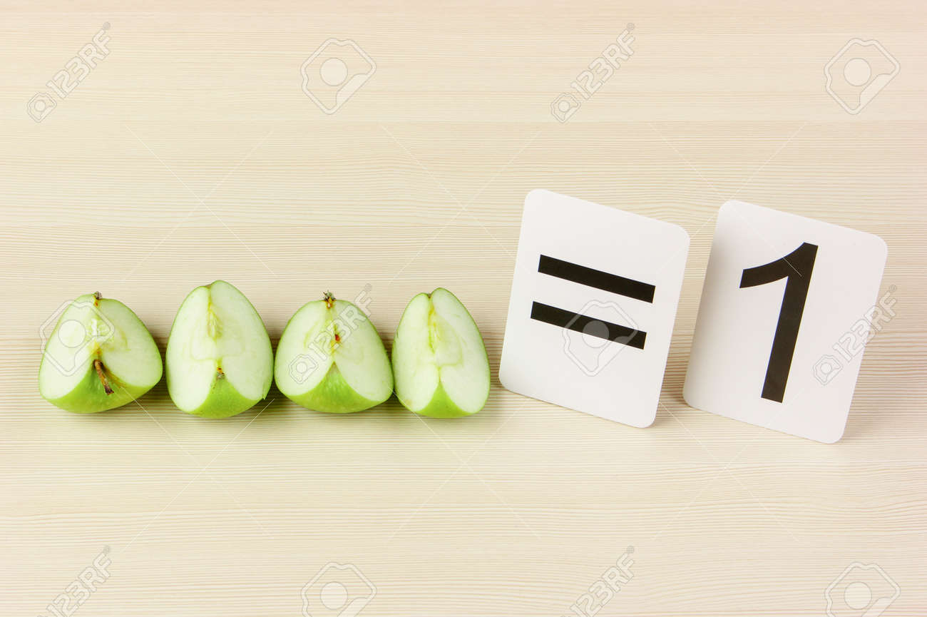 School card and apple with math problems - 21085934
