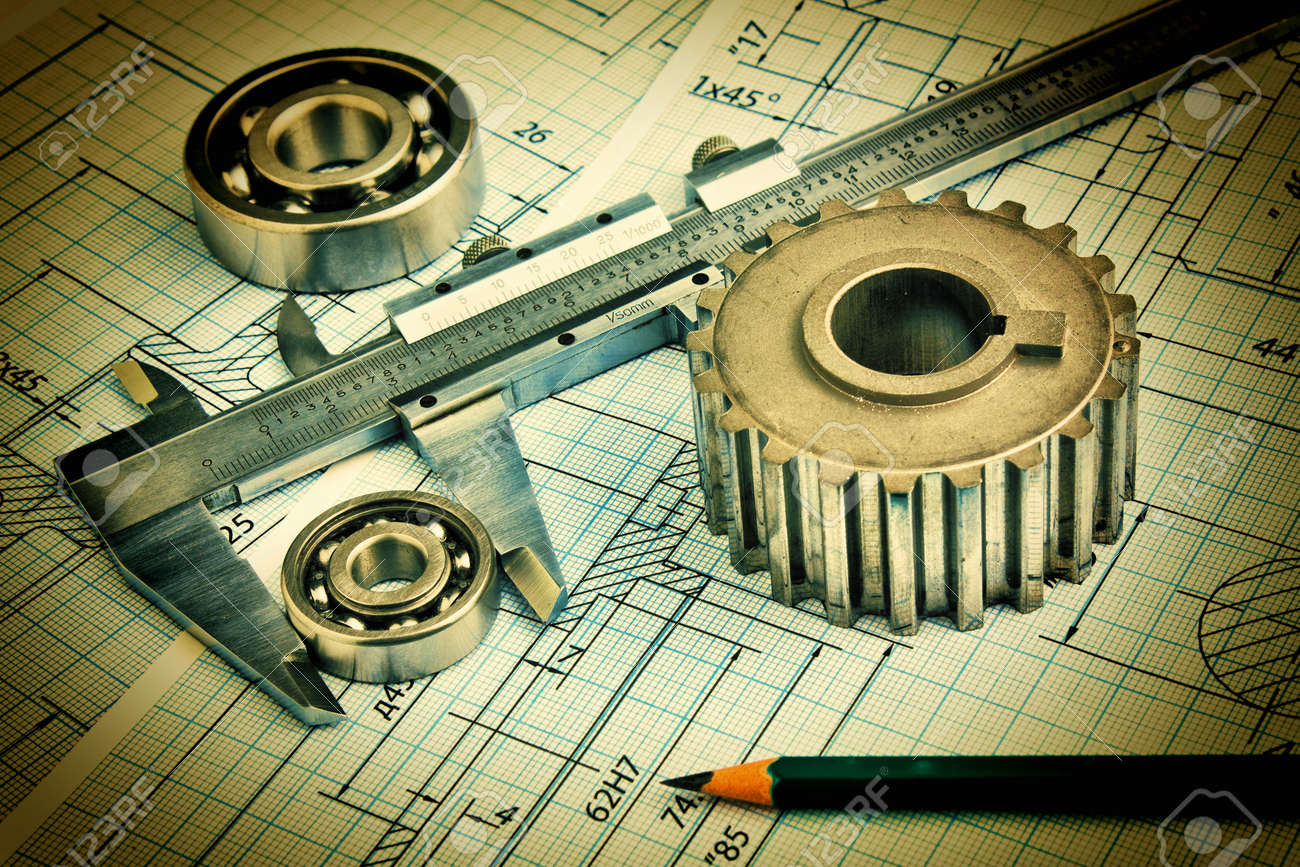 Old technical drawing and pinion with bearings - 22500244