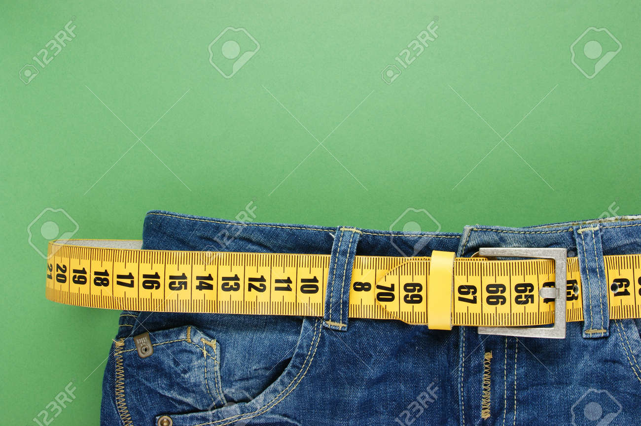 jeans with meter belt slimming on the green - 23961774