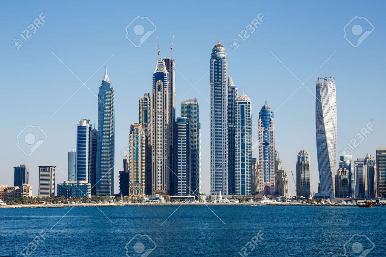DUBAI, UAE - NOVEMBER 7: General view of the Dubai Marina, on November 7, 2013, Dubai, UAE. In the city of artificial channel length of 3 kilometers along the Persian Gulf. - 24366117