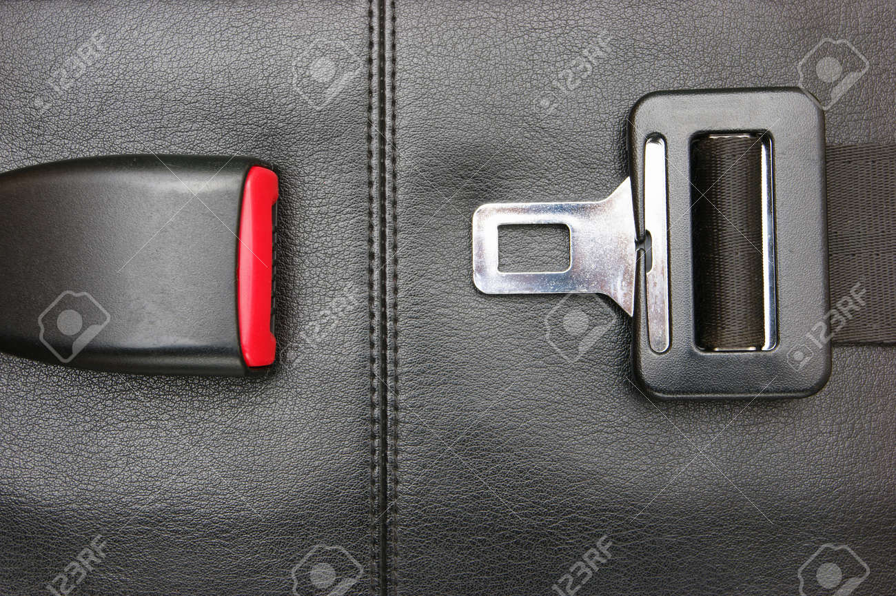 seat belt on a black leather chair - 24940843