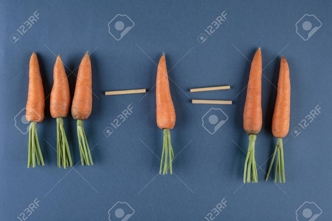 Carrots And School Mathematics With Math Problems Stock Photo ...