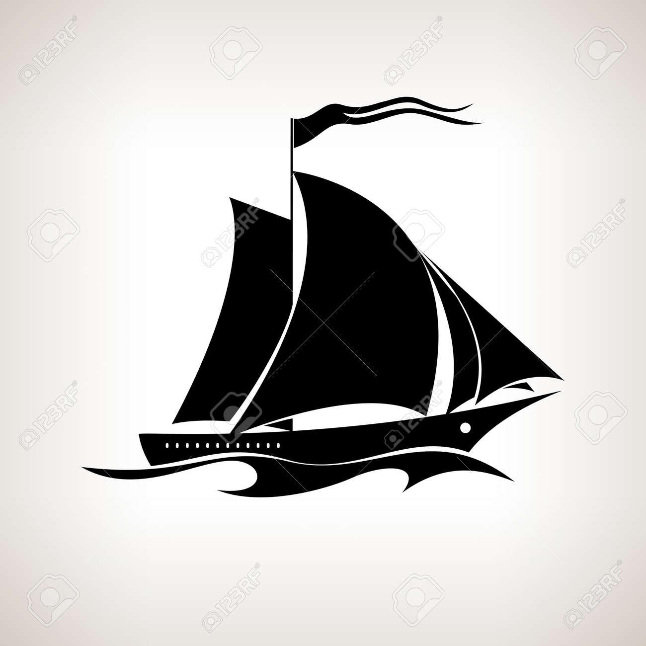 Segelboot zeichnung schwarz  Silhouette Segelschiff, Segelboot Mit Einer Fahne In Den Wellen ...
