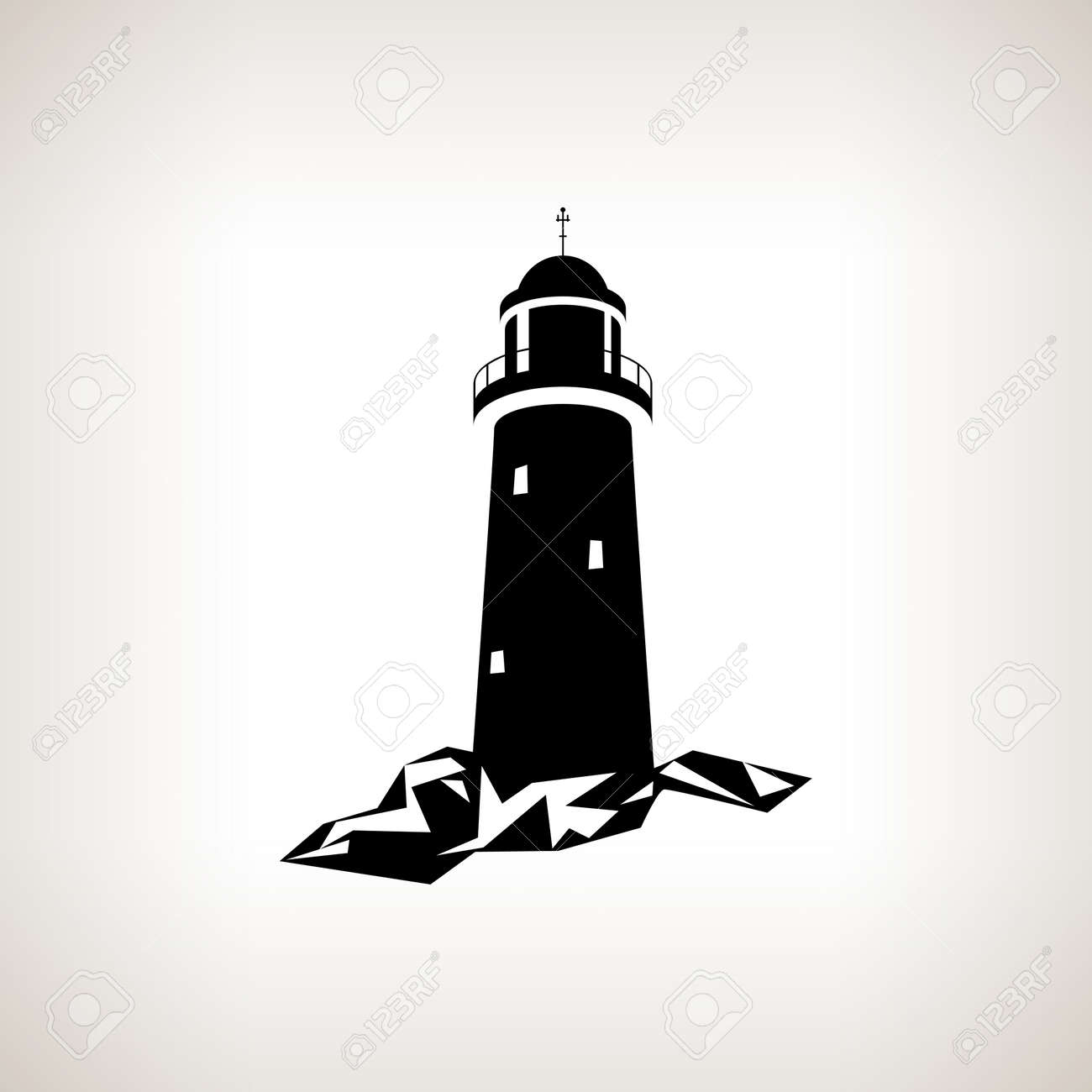 silhouette lighthouse on a light background black and white rh 123rf com lighthouse vector free download lighthouse vector image