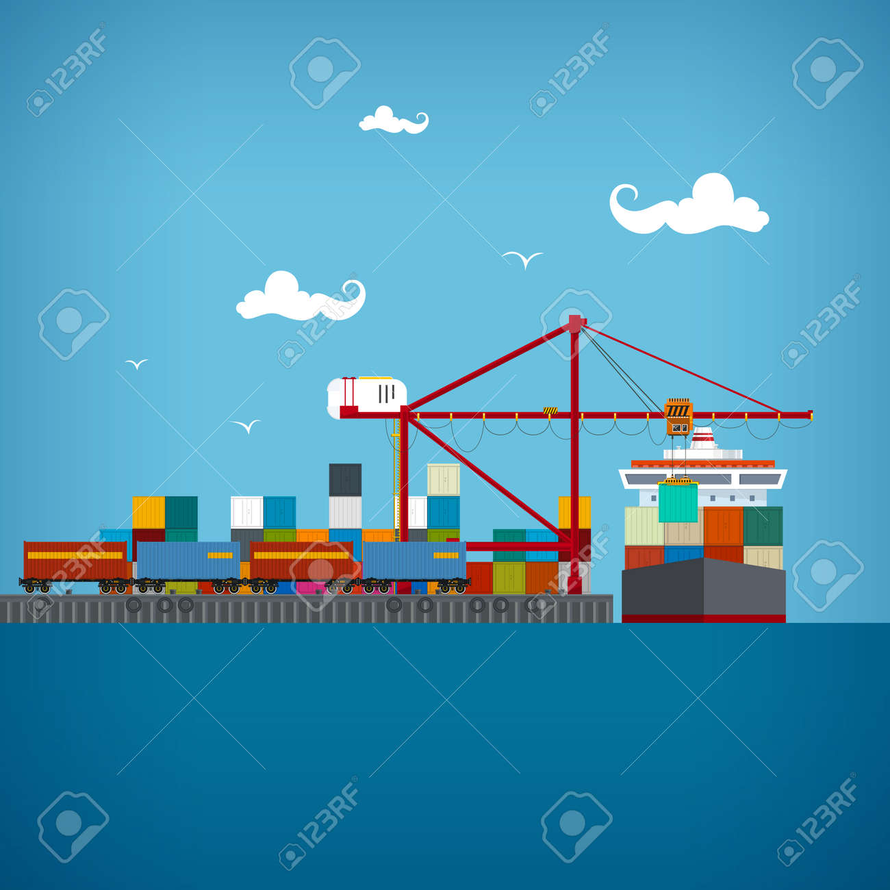 Sea port, unloading of cargo containers from the container carrier - 35963045