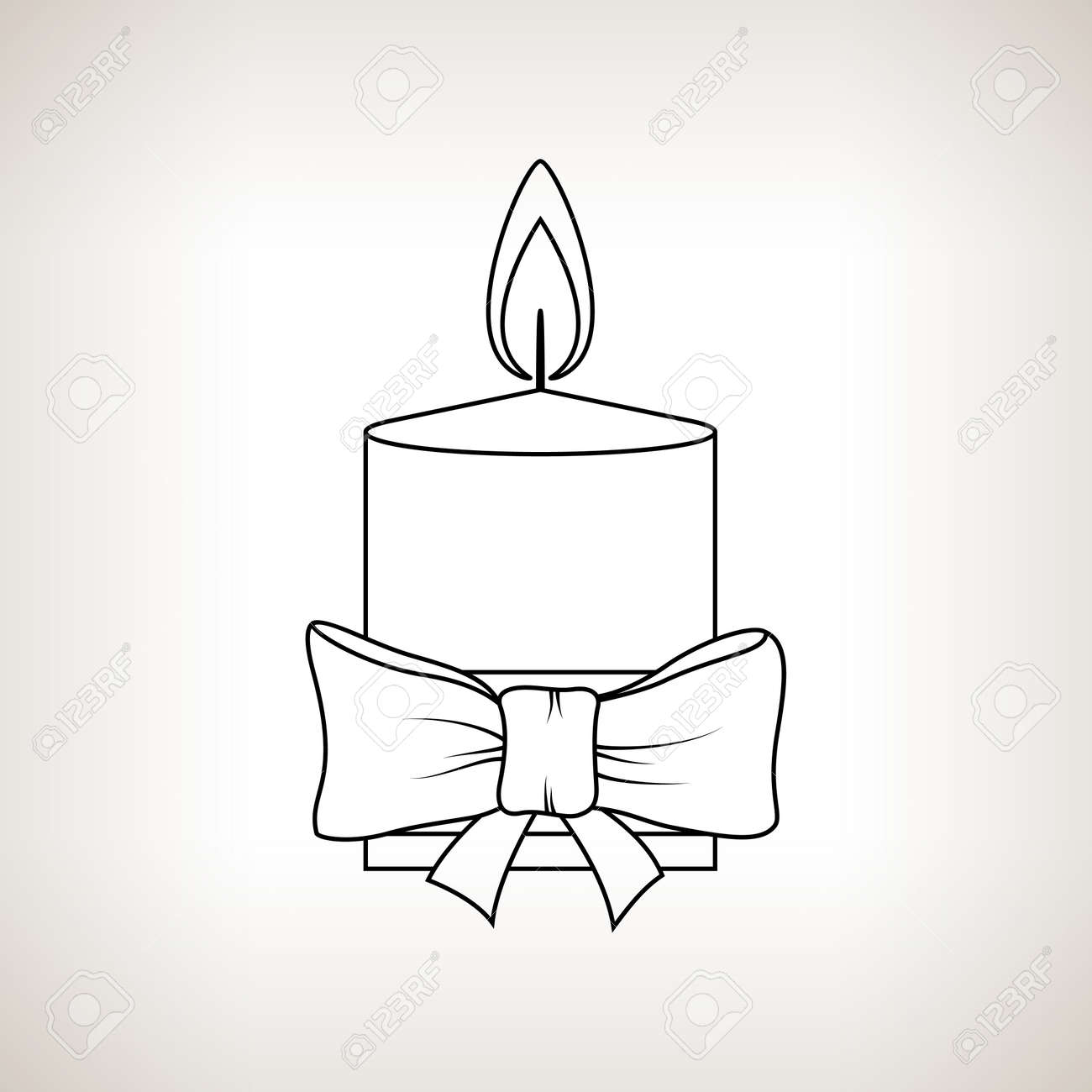 Drawings Of Christmas Decorations.Christmas Festive Candle On A Light Background Christmas Decorations
