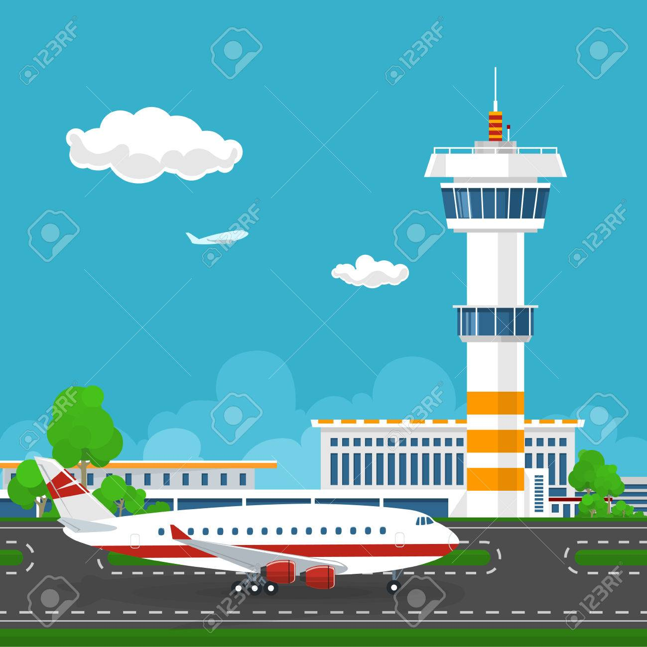 Airport Terminal, the Plane on the Runway at the Airport , Airport with Control Tower and Airplane ,Tourism Concept ,Vector Illustration - 57677003