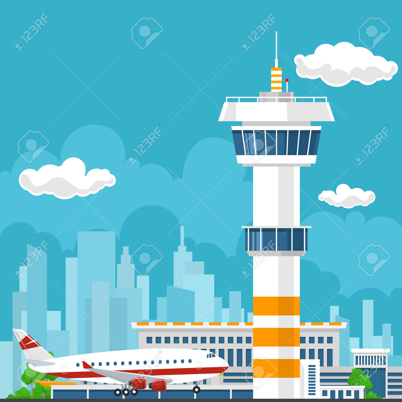 Arrivals at Airport, Control Tower and Airplane on the Background of the City, Travel and Tourism Concept , Air Travel and Transportation, Vector Illustration - 57689913