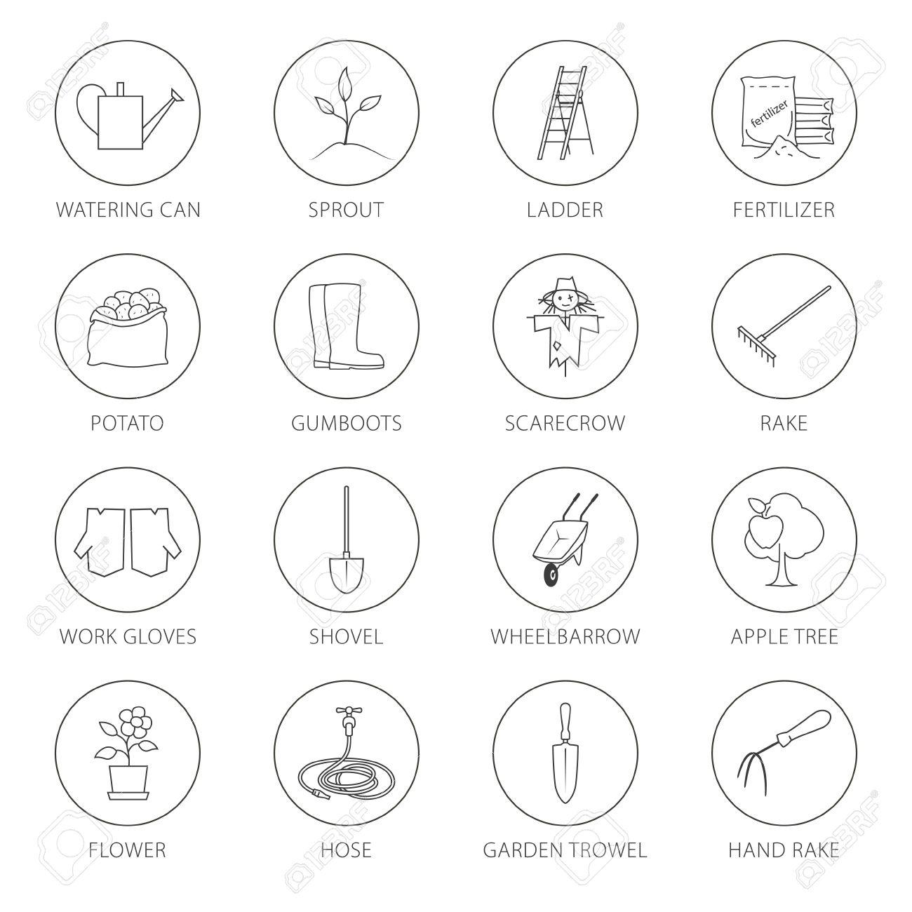set von gartengeräte, rund thin line icons gartengeräte und namen