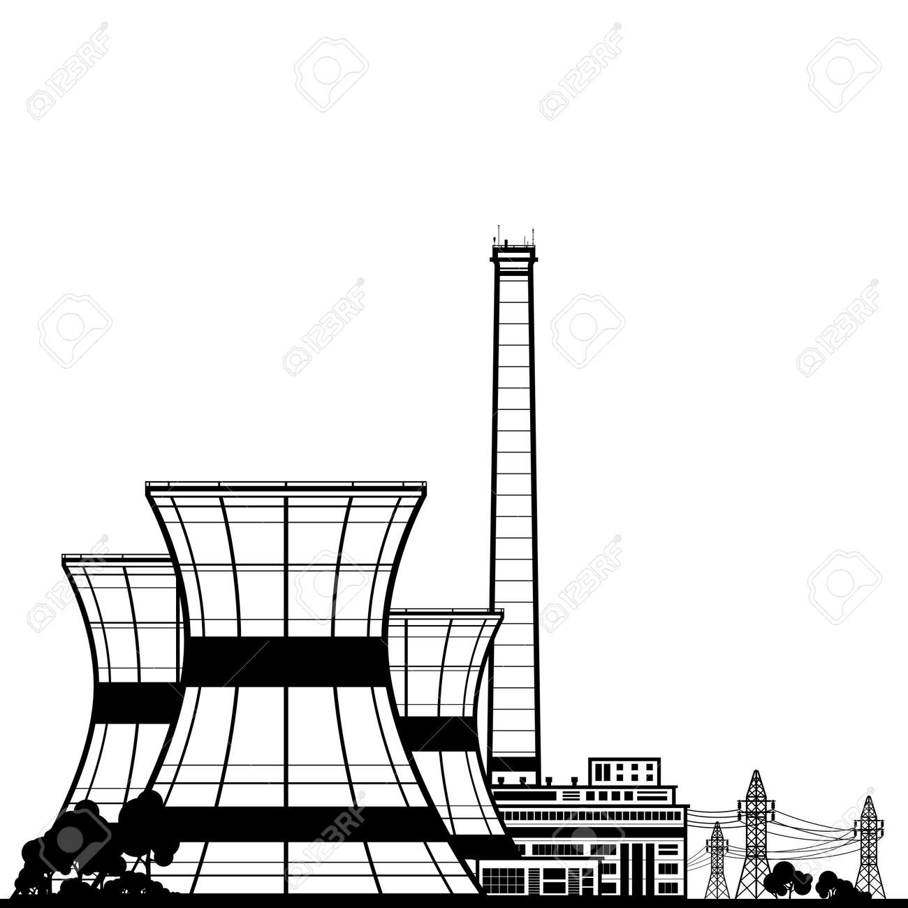 b7d3bb22 Silhouette Nuclear Power Plant , Thermal Power Station, Nuclear Reactor and  Power Lines,Black
