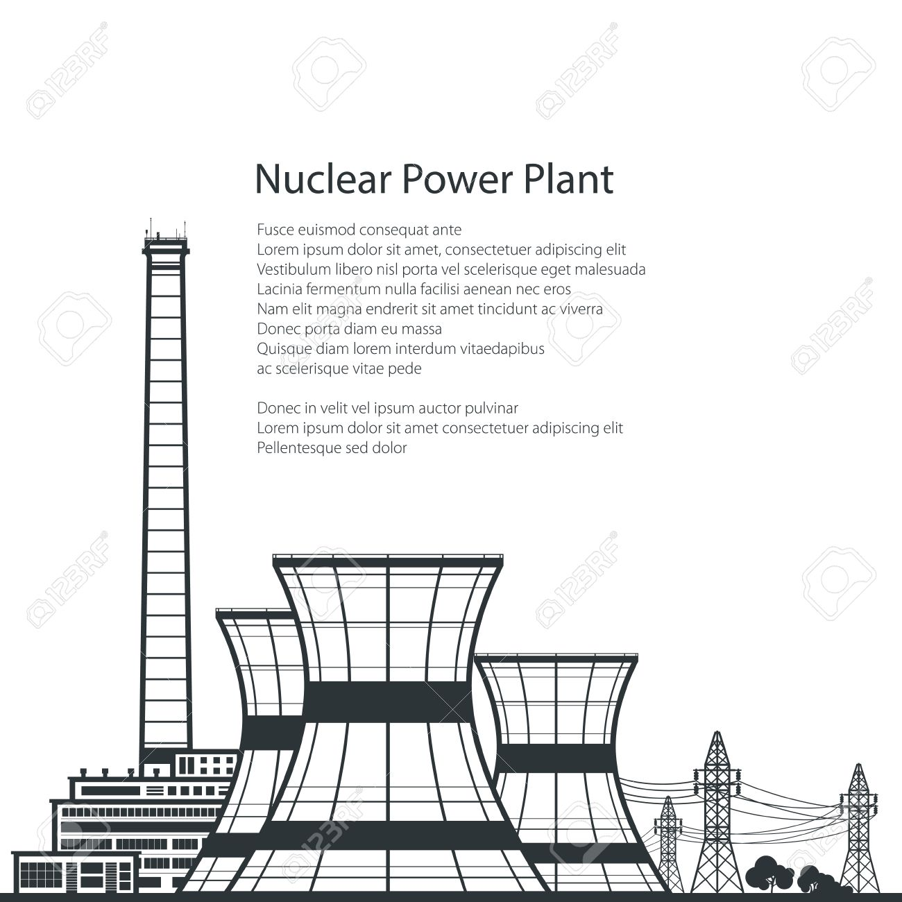 Silhouette nuclear power plant silhouette thermal power station silhouette nuclear power plant silhouette thermal power station and text nuclear reactor and power ccuart Choice Image